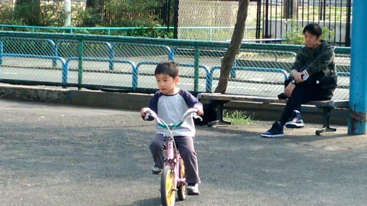 交通公園で4歳末っ子が自転車デビュー